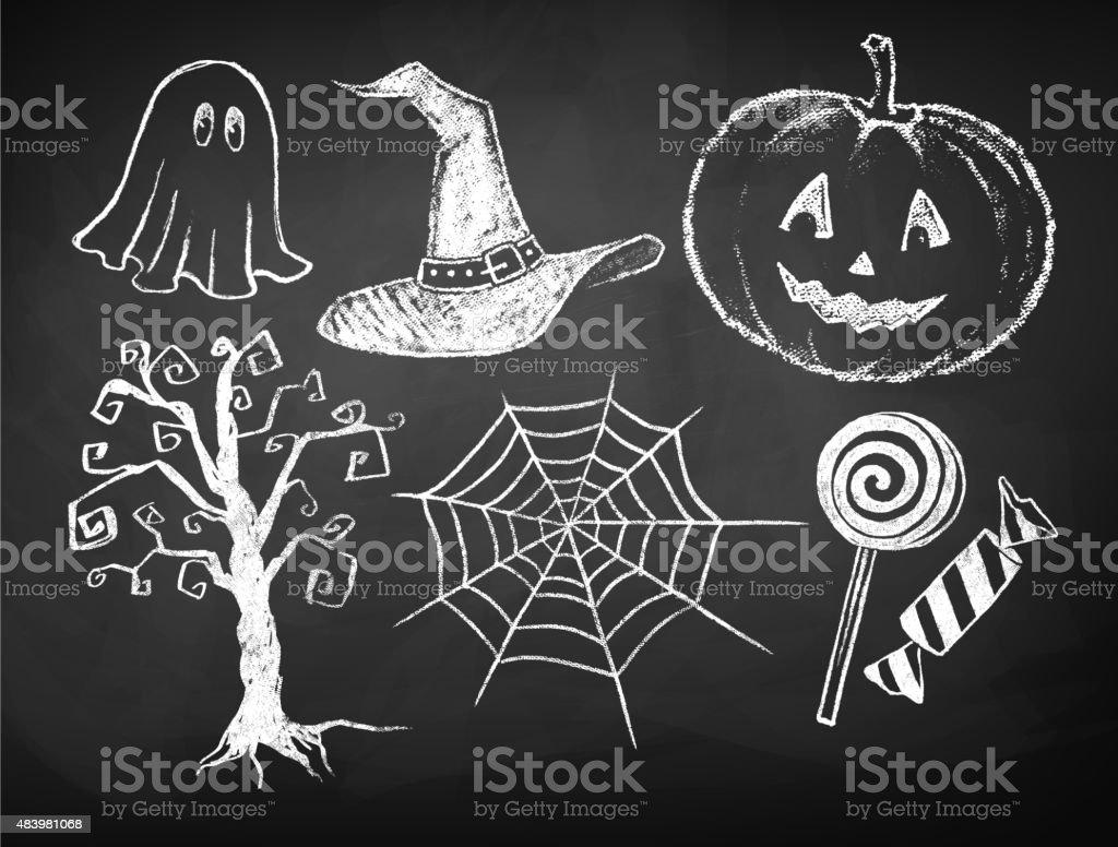 Halloween chalked collection. vector art illustration