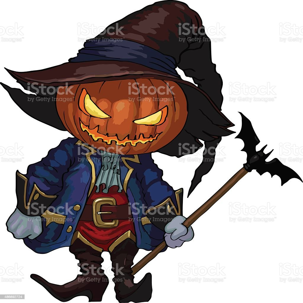 Halloween character Jack-o-lantern vector art illustration