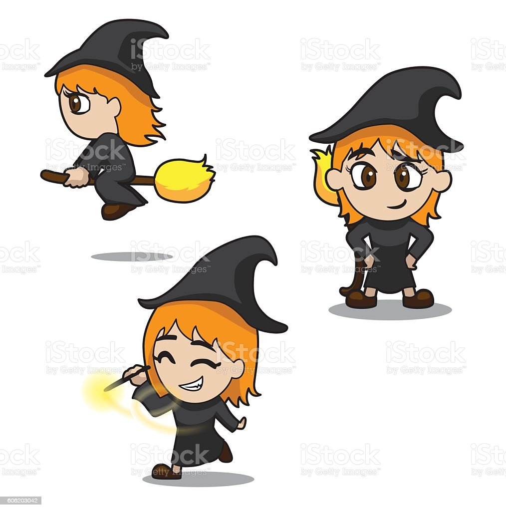 halloween character set cute witch cartoon vector illustration stroke royalty free stock vector art - Halloween Witch Cartoon