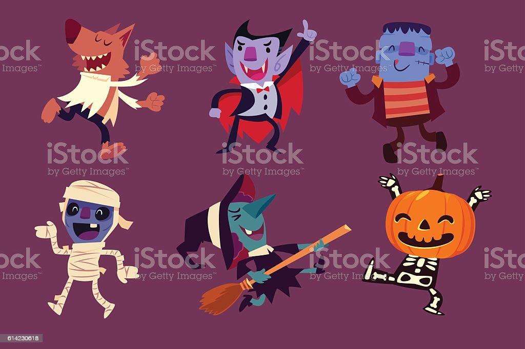 Halloween characters dancing in party vector art illustration