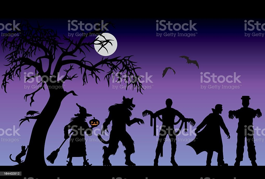 Halloween characters on a purple background royalty-free stock vector art