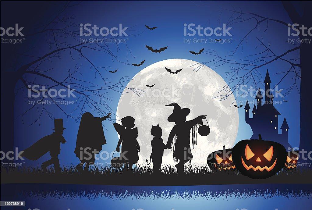 Halloween Children Trick Or Treat royalty-free stock vector art