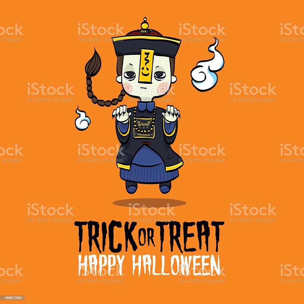Halloween Chinese Zombie vector art illustration