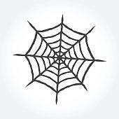 Halloween cobweb outline icon.
