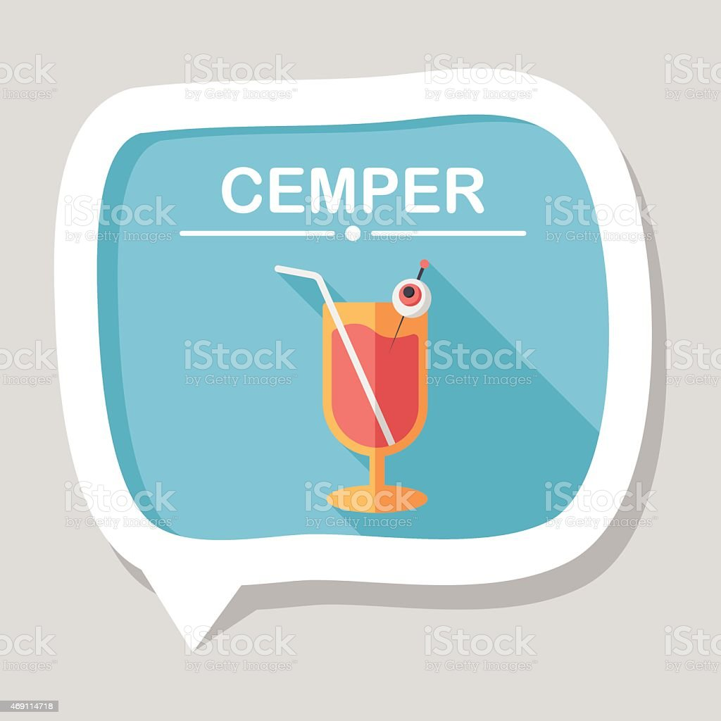 Halloween cocktail flat icon with long shadow,eps10 vector art illustration
