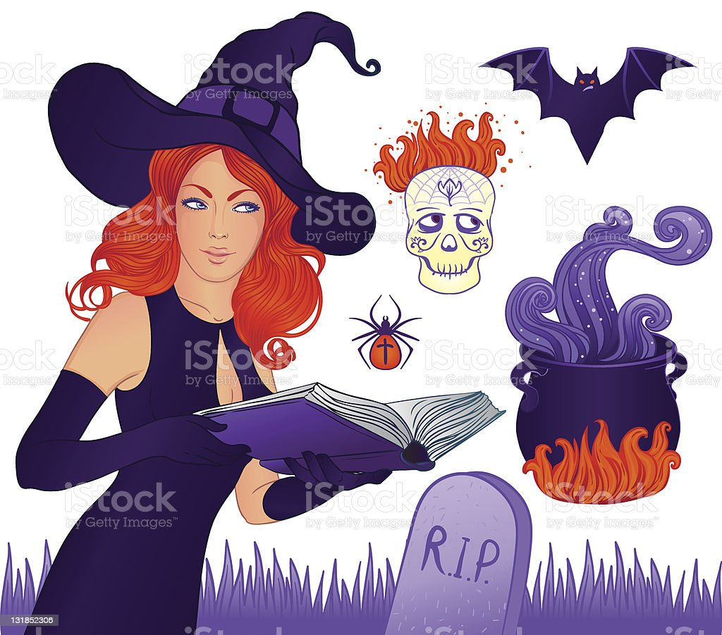 Halloween collection with red-haired witch royalty-free stock vector art
