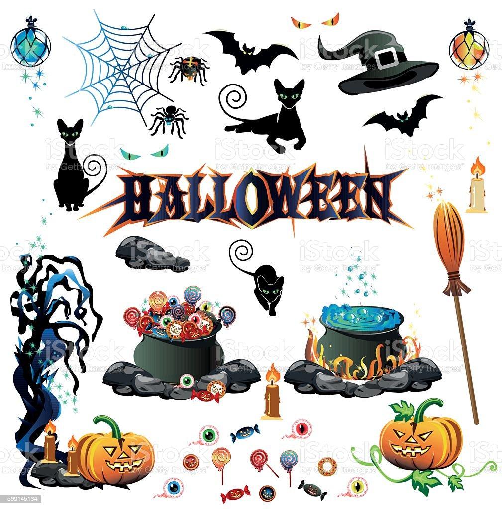 Halloween color set vector art illustration