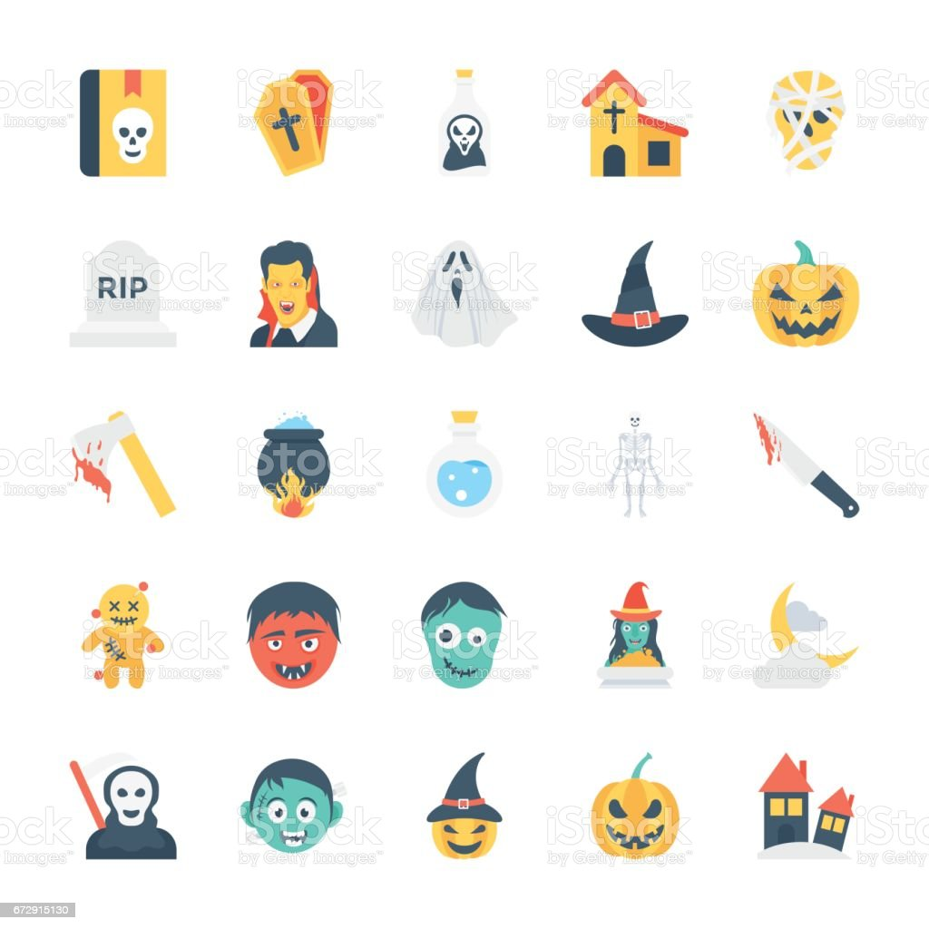 Halloween Colored Vector Icons 2 vector art illustration