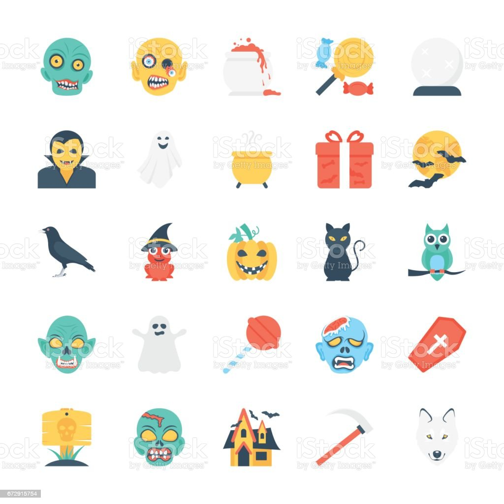 Halloween Colored Vector Icons 4 vector art illustration