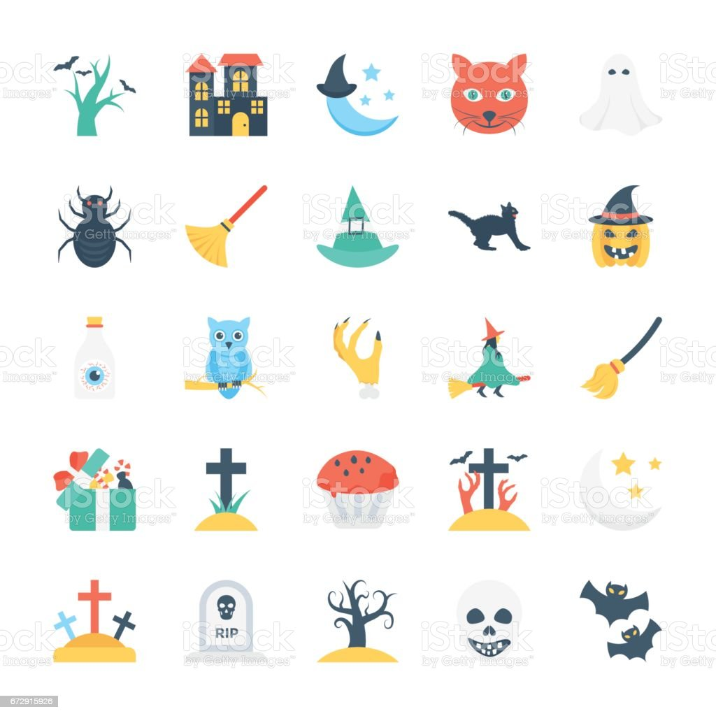 Halloween Colored Vector Icons 5 vector art illustration