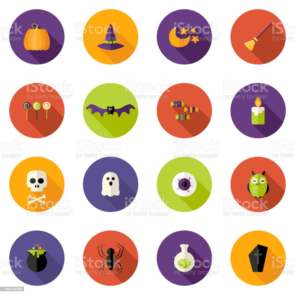 Halloween Colorful Flat Circle Icons Set vector art illustration