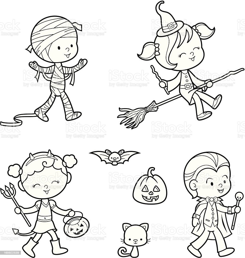 Halloween coloring set royalty-free stock vector art