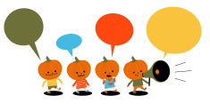 Halloween costume ball, group of Multi Ethnic Pumpkin Children, Megaphone vector art illustration