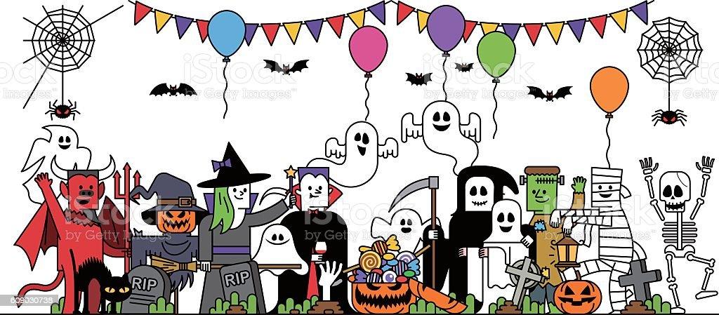 Halloween costume characters vector art illustration