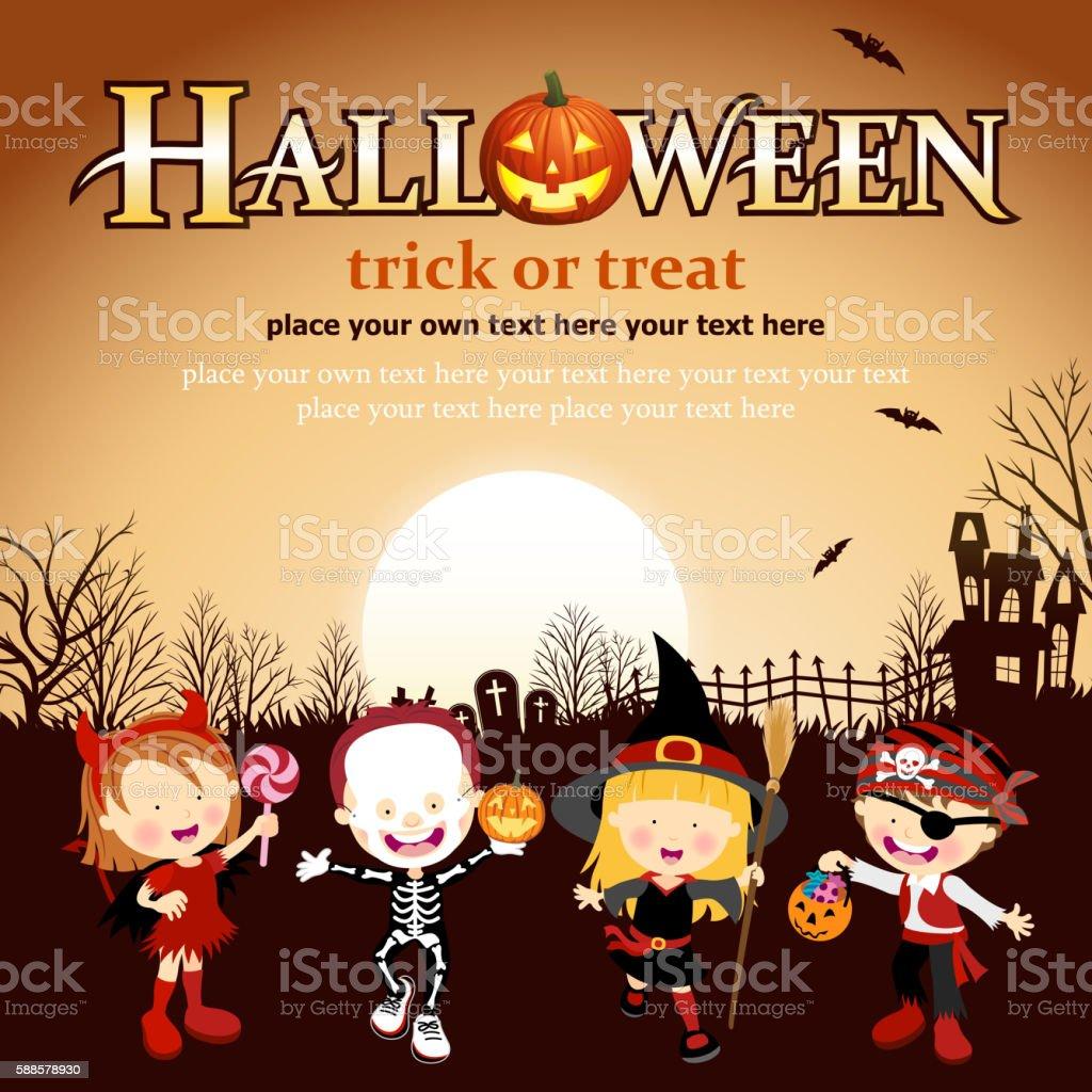 Halloween Costume Kids vector art illustration
