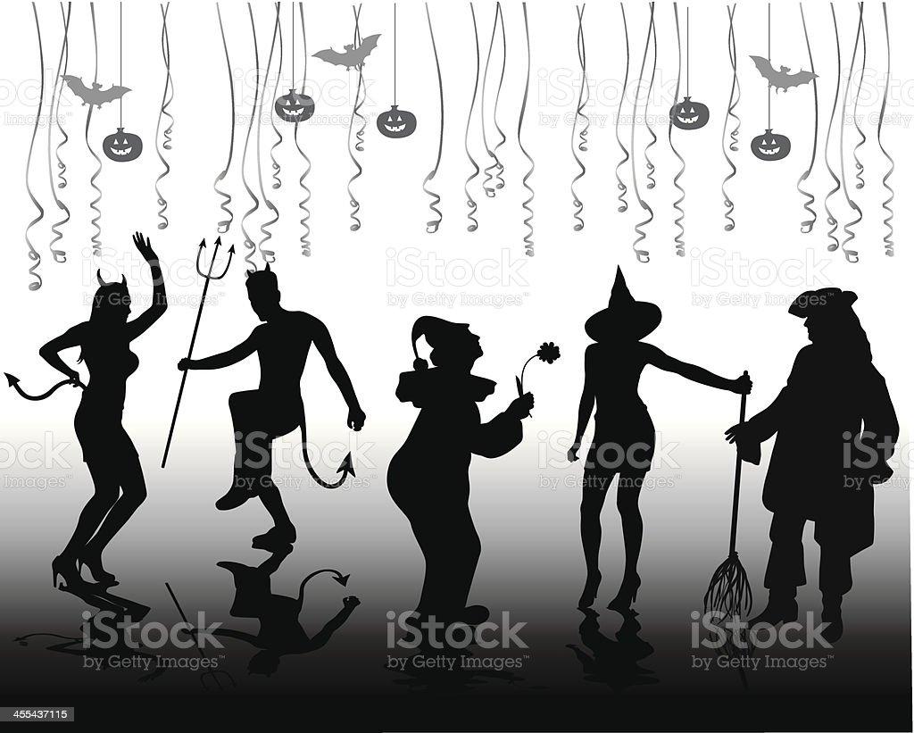 Halloween Costumes Vector Silhouette vector art illustration