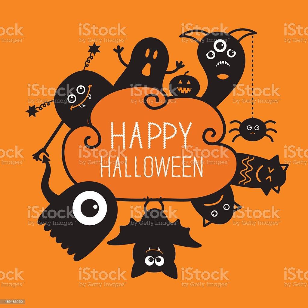 Halloween countour doodle. Ghost, bat, pumpkin, spider, monster set. Orange vector art illustration