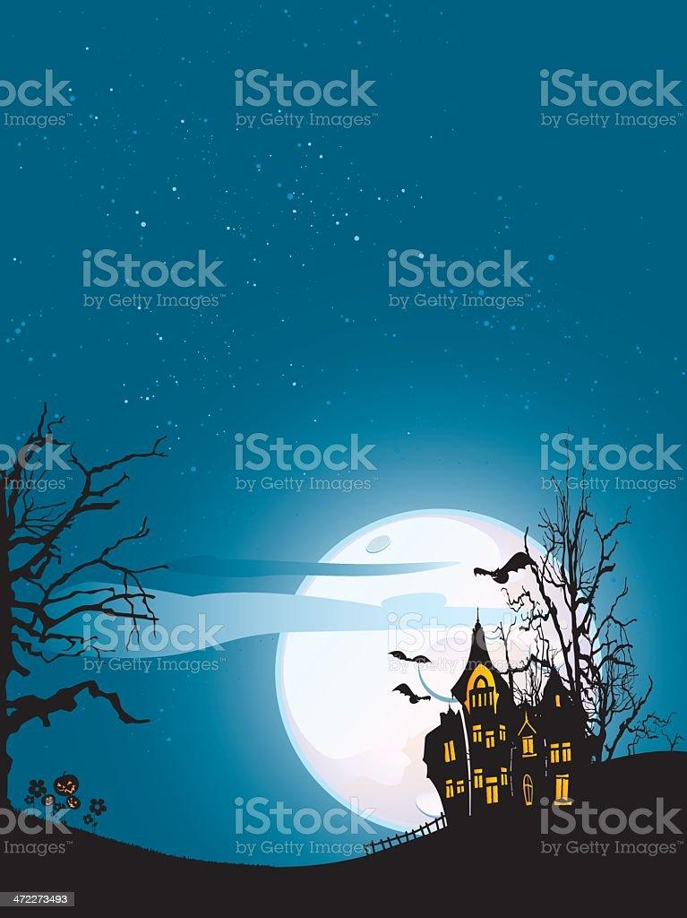 Halloween creepy house vector art illustration