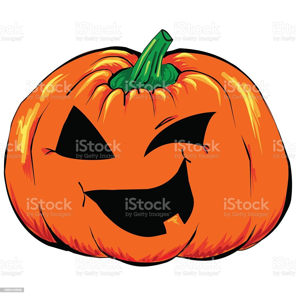 Halloween creepy Jack-o-lantern pumpkin vegetable isolated vector vector art illustration