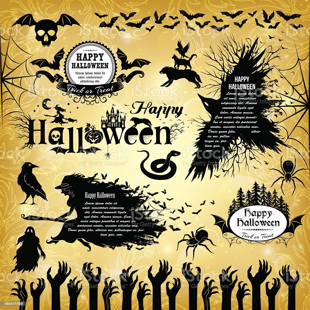 Halloween design elements. vector art illustration