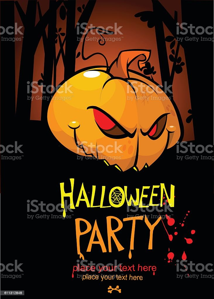 Halloween design template. Pumpkin head and place for text. vector art illustration