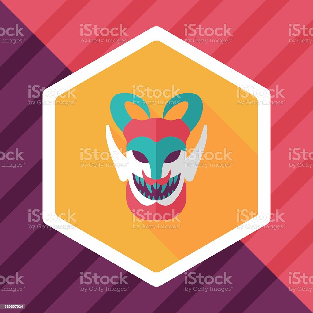 Halloween devil falt icon with long shadow,eps10 vector art illustration
