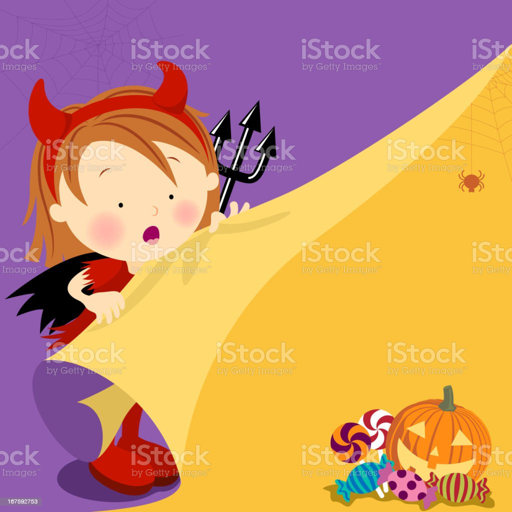 Halloween Devil Looking for Candy royalty-free stock vector art