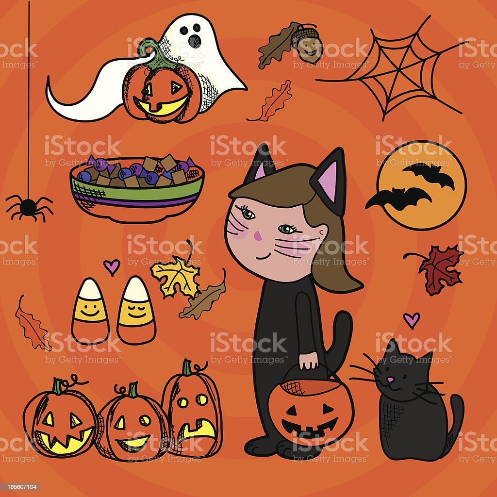 Halloween Doodle Elements royalty-free stock vector art