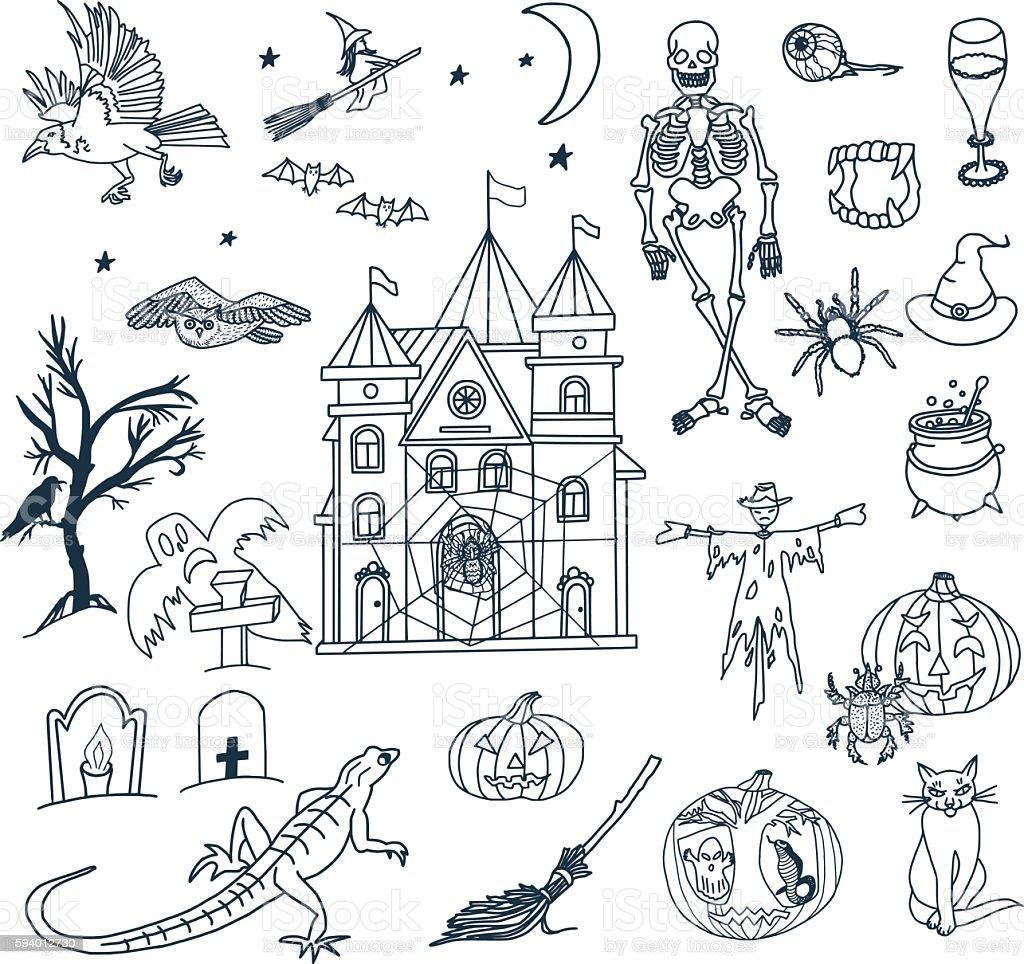 Halloween Doodle Set vector art illustration