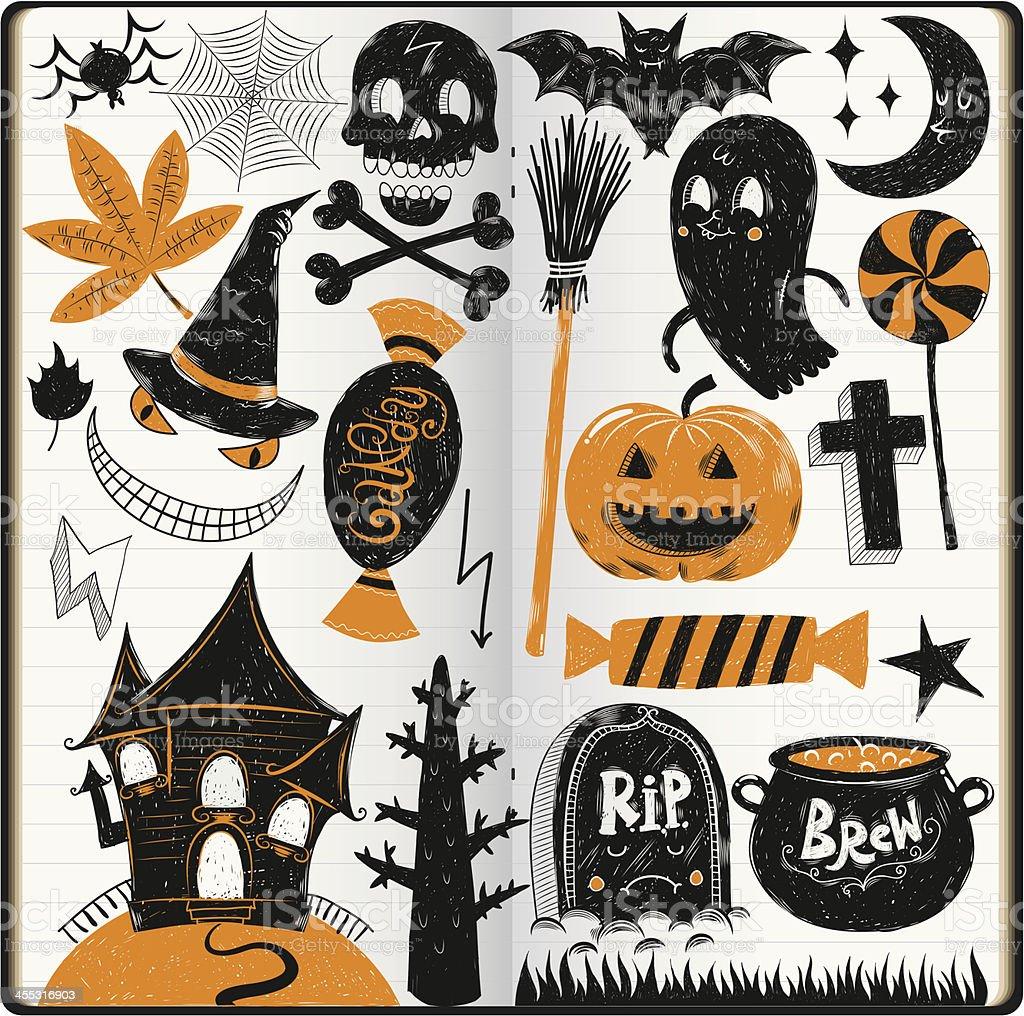Halloween doodles vector art illustration