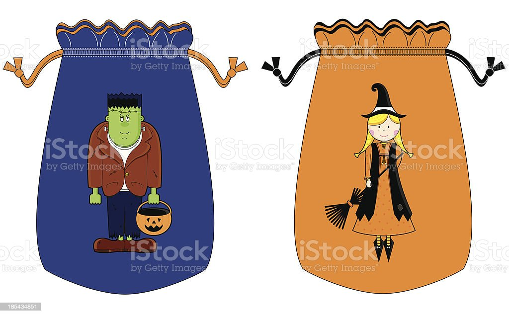 Halloween Drawstring Character Bags royalty-free stock vector art