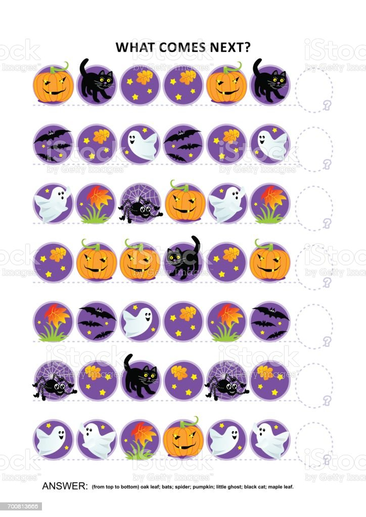 Halloween educational logic game - sequential pattern recognition vector art illustration