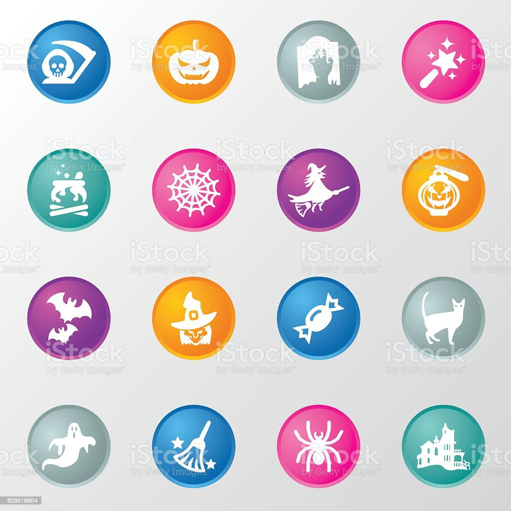 Halloween Elements Circle Color Icons vector art illustration