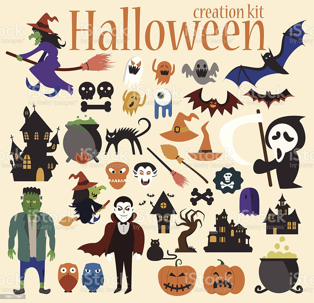 Halloween Elements Set – Witches, Ghosts and lots more. royalty-free stock vector art