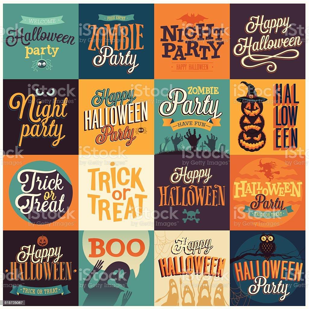Halloween emblems set. vector art illustration