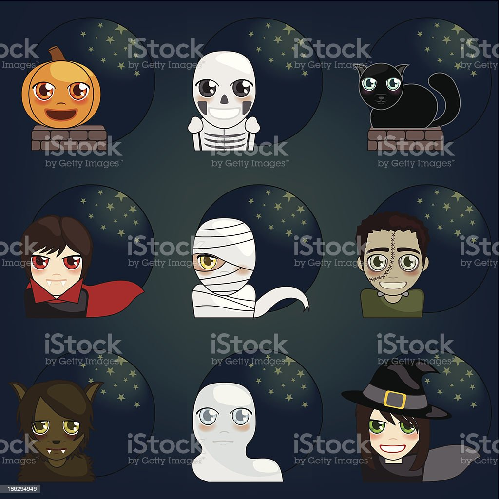 halloween Face Icons royalty-free stock vector art