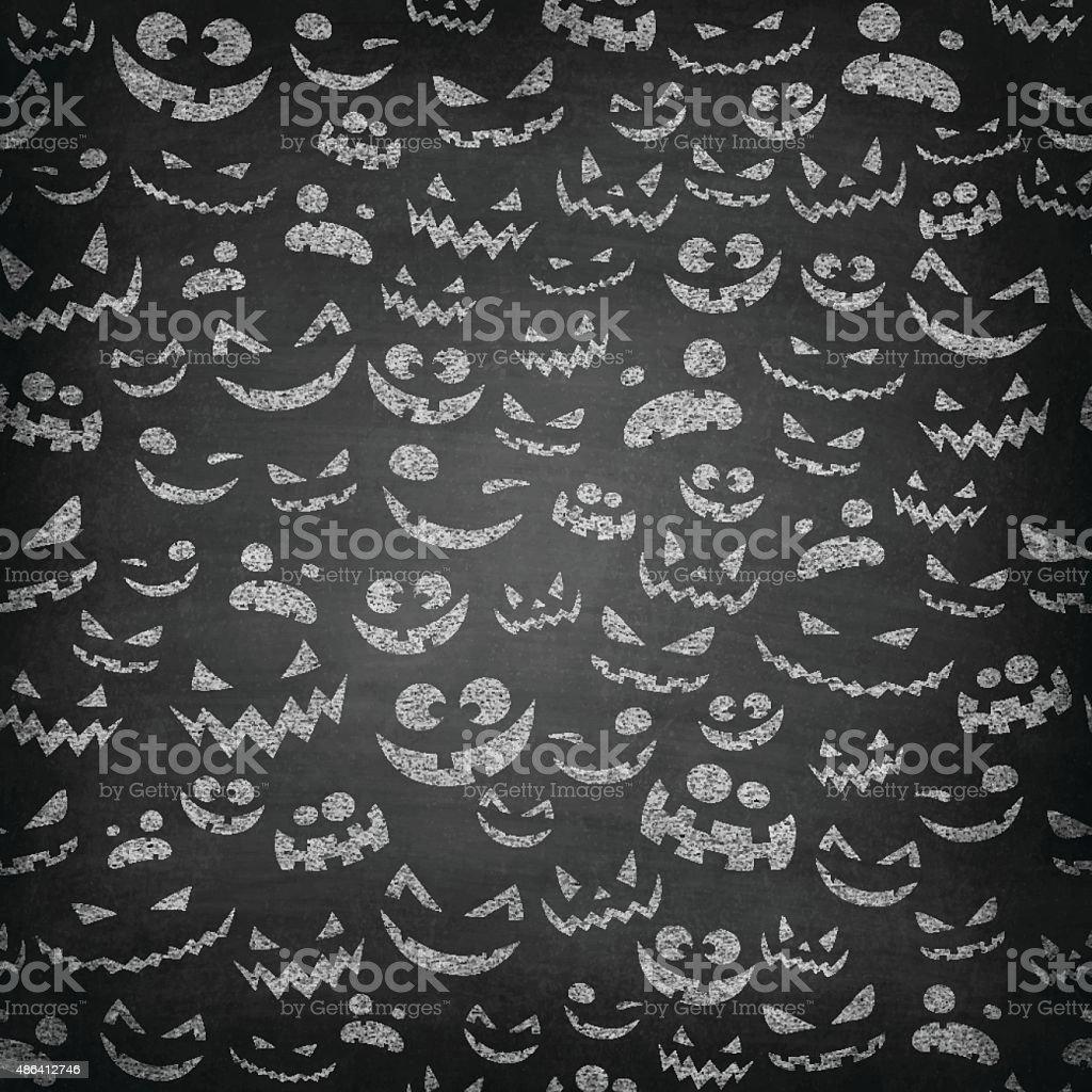 Halloween Faces on Chalkboard - Seamless Pattern vector art illustration