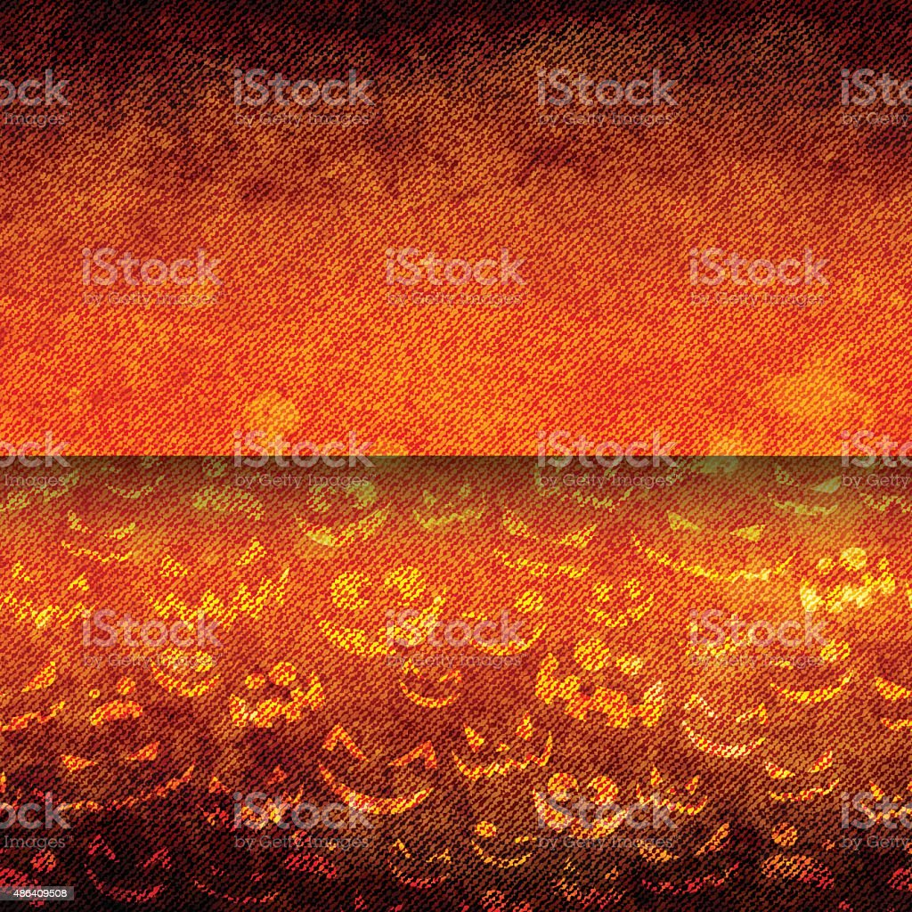 Halloween Faces on Grunge Canvas vector art illustration