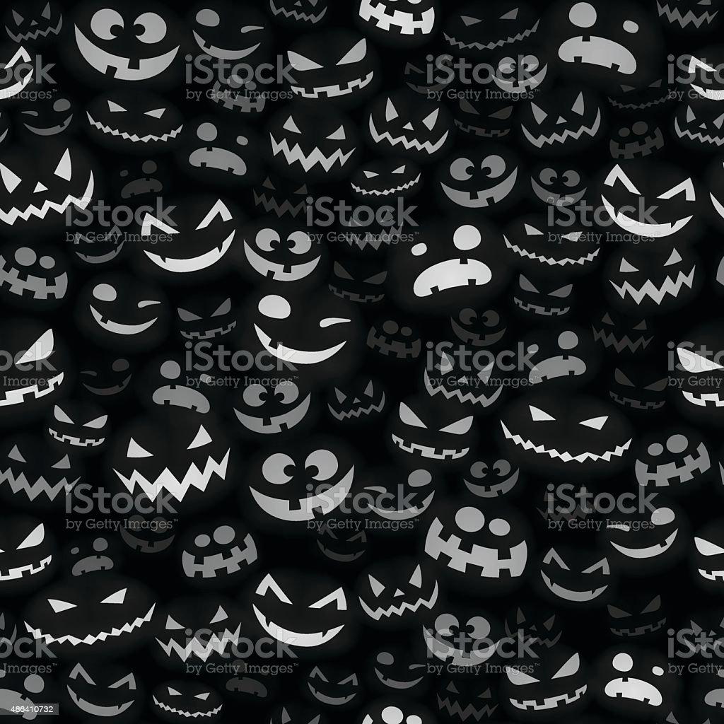 Halloween Faces - Seamless Pattern vector art illustration