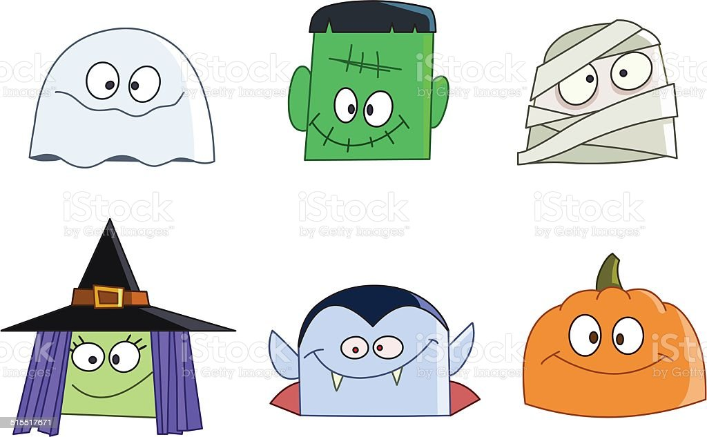 Halloween faces vector art illustration