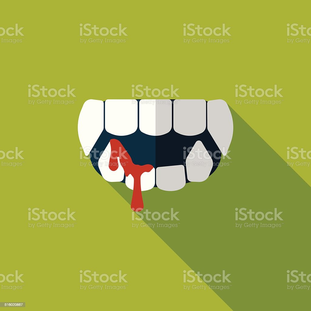 Halloween fangs flat icon with long shadow,eps10 vector art illustration