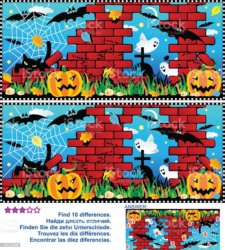 Halloween find the 10 differences visual puzzle vector art illustration
