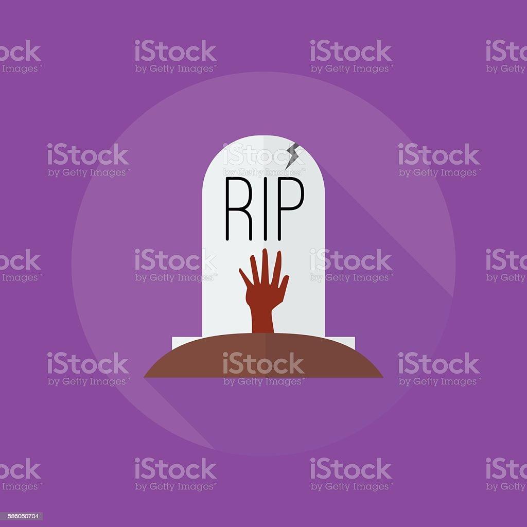 Halloween Flat Icon. Grave vector art illustration