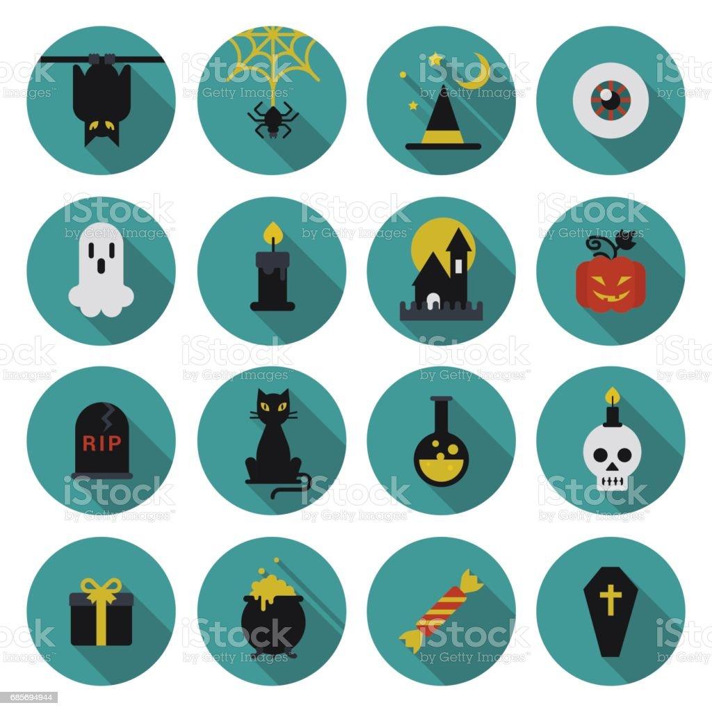 Halloween flat icon set longshadow modern style creative design template collection. Bat spider wizard skull pumpkin cat poison grave eye gift box candle coffin. vector art illustration