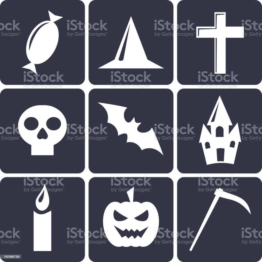 Halloween flat vector icons royalty-free stock vector art