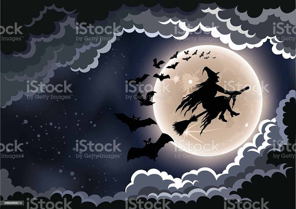Halloween Flying Witch vector art illustration