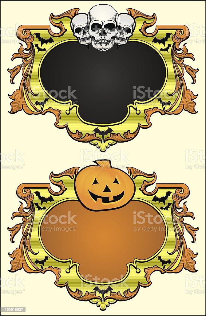 Halloween Frames with skulls & pumpkin vector art illustration