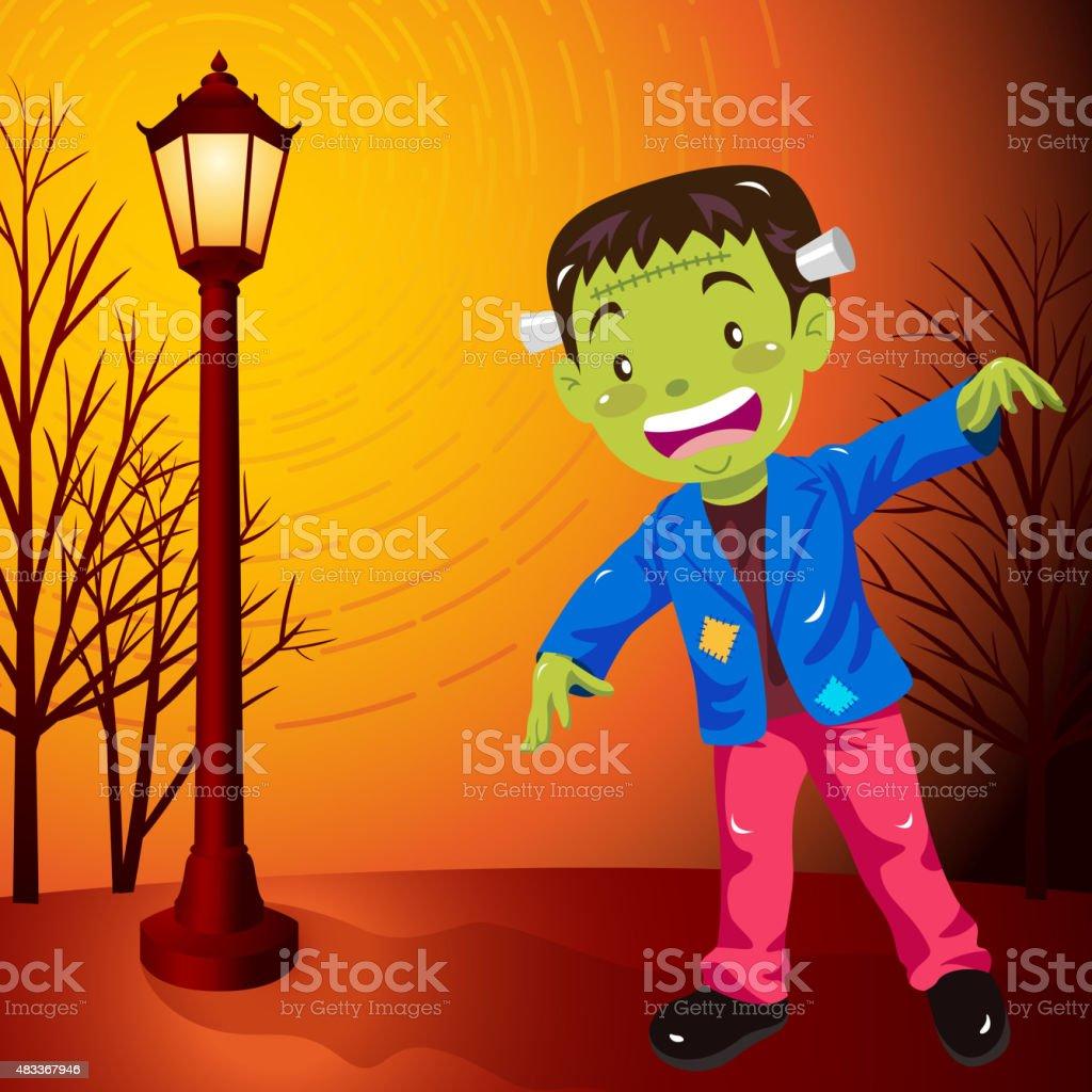 Halloween frankenstein costume vector art illustration