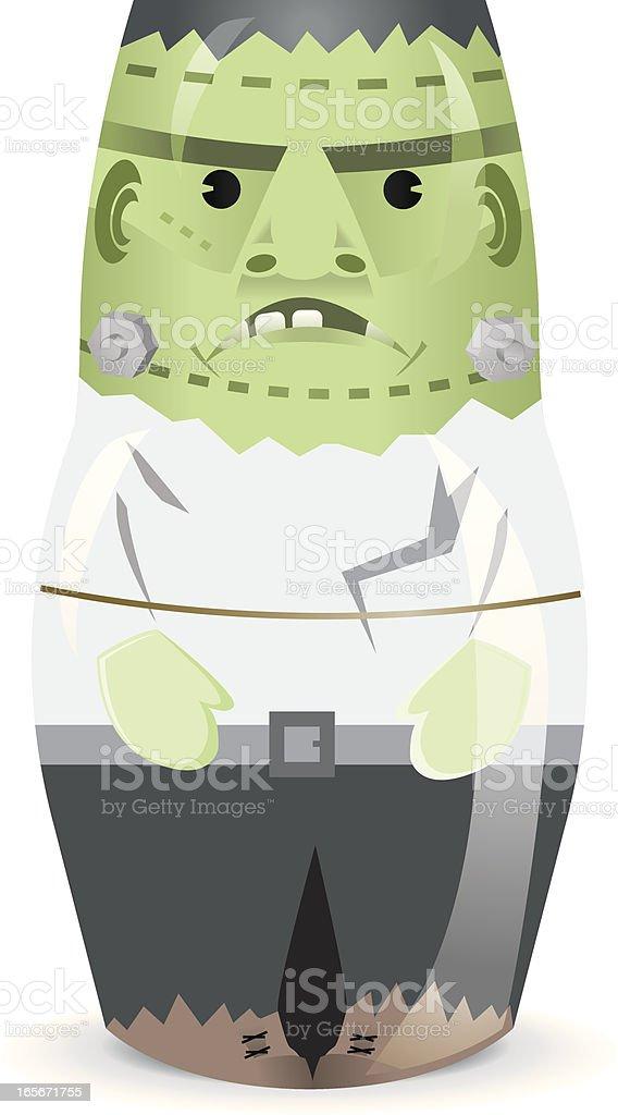 Halloween Frankenstein Monster stacking Doll royalty-free stock vector art