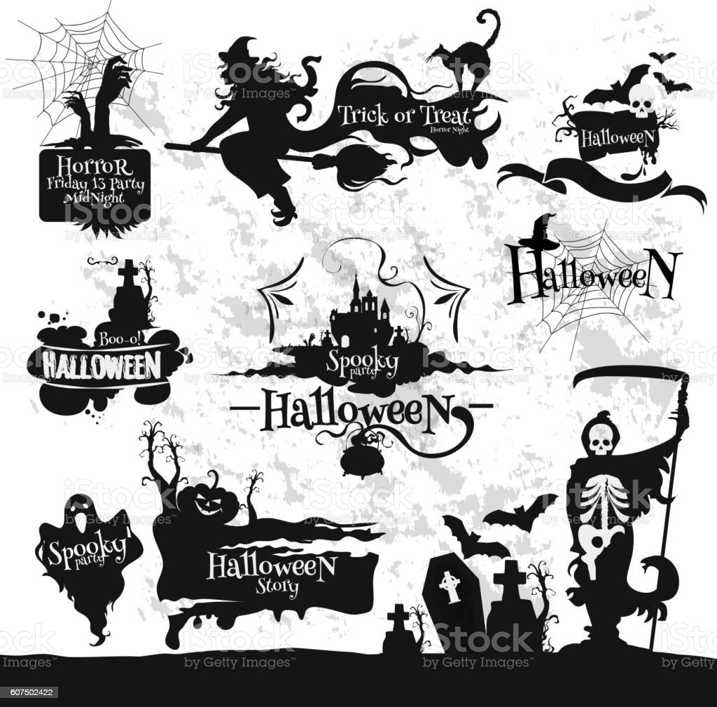 Halloween, Friday 13 horror party decorations set vector art illustration